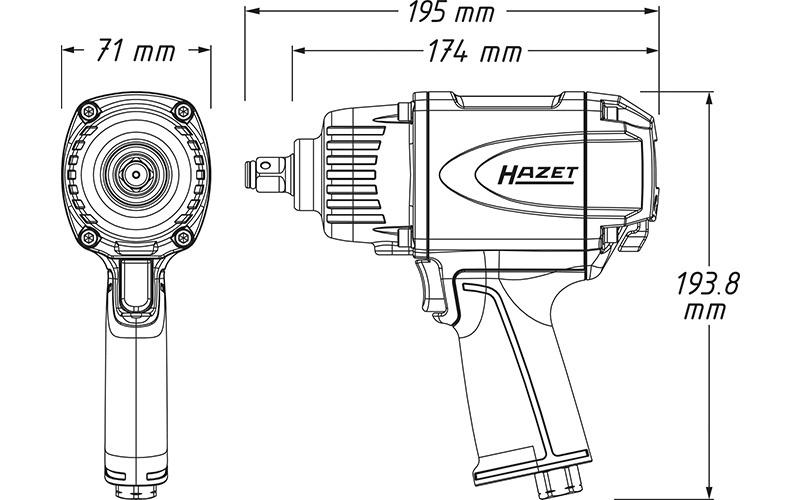 """Hazet 9012 P-1 Havalı Somun Sıkma - Sökme [ 1/2"""" - 1000 Nm ]"""